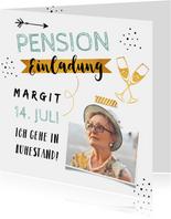 Einladungskarte Pensionsfeier Foto & Goldlook