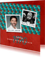 Einladungskarte retro rot-blau mit Fotos