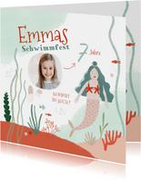 Einladungskarte Schwimmfest Meerjungfrau und Foto