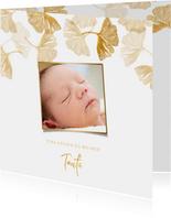 Einladungskarte Taufe Foto & Ginkgo Stempel