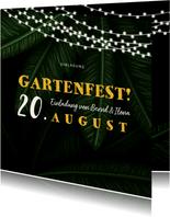 Einladungskarte zum Gartenfest Palmblätter