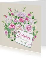 Einladungskarte zum Geburtstag mit Rosenstrauß