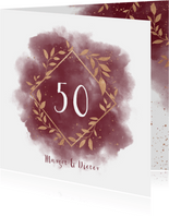 Einladungskarte zum Hochzeitstag goldene Zweige