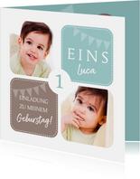 Einladungskarte zum Kindergeburtstag mit Fotos grün