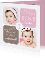 Einladungskarte zum Kindergeburtstag rosa mit Fotos
