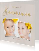 Einladungskarte zur Erstkommunion mit 2 Fotos