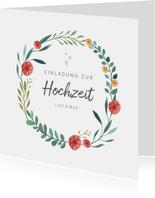 Einladungskarte zur Hochzeit Blumenornamente
