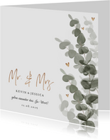 Einladungskarte zur Hochzeit Eukalyptusblätter