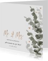 Einladungskarte zur Hochzeit Eukalyptusblatt mit Foto