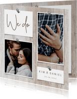 Einladungskarte zur Hochzeit Fotos auf Holz