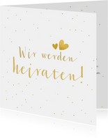 Einladungskarte zur Hochzeit goldenes Konfetti