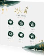 Einladungskarte zur Hochzeit mit Foto in grün mit Timeline