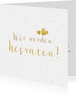 Einladungskarte zur Hochzeit mit Foto und goldener Schrift