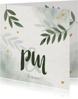 Einladungskarte zur Hochzeit mit Foto, Zweigen und Herzen