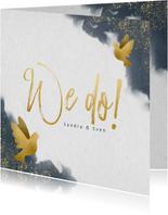 Einladungskarte zur Hochzeit mit Wasserfarben und Tauben