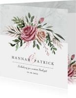 Einladungskarte zur Hochzeit Rosen & Marmor