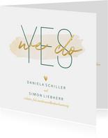 Einladungskarte zur Hochzeit 'Yes we do' im Goldlook