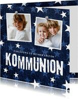 Einladungskarte zur Kommunion Denimlook mit Fotos