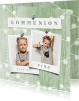 Einladungskarte zur Kommunion Fotos auf Holz grün
