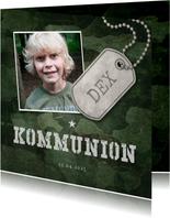 Einladungskarte zur Kommunion grüner Militarylook mit Fotos