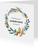 Einladungskarte zur Kommunion Papagei in Kranz