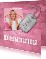 Einladungskarte zur Kommunion rosa Militarylook mit Fotos