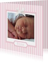 Einladungskarte zur Taufe Foto klassische Streifen rosa