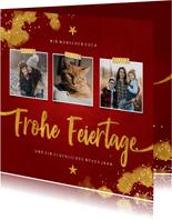 Elegante Weihnachtskarte mit drei Fotos