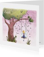 Vriendschap kaarten - Elfje op schommel