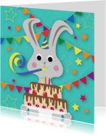 Verjaardagskaarten - feest konijn