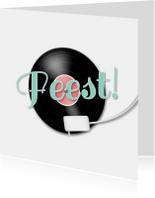 Feest muziek LP en muzieknoten