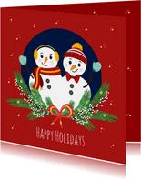 Feestdagen kaartje met 2 vrolijke sneeuwpoppen