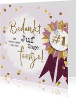 Feestelijke bedankkaart juf met vaandel, confetti en goud