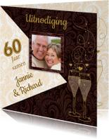 Feestelijke jubileumkaart voor stel dat 60 jaar samen is