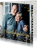 Feestelijke kaart huwelijksjubileum confetti met foto