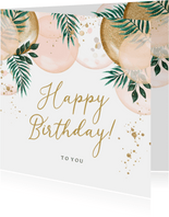 Feestelijke kaart met ballonnen en goud met botanisch tintje