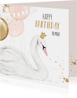 Feestelijke kaart met geïllustreerde zwaan en ballonnen
