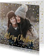 Feestelijke kerstkaart met confetti rand en grote eigen foto