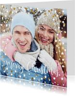 Feestelijke kerstkaart wit/goud confetti kader met sterren