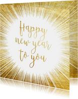 Feestelijke nieuwjaarskaart met gouden ster en typografie