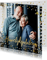Feestelijke uitnodiging huwelijksjubileum confetti met foto