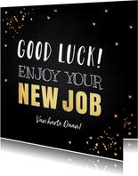 Felicitatie nieuwe baan typografie goudlook