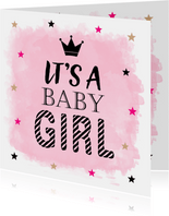 Felicitatie baby meisje waterverf sterren