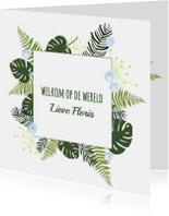 Felicitatiekaarten - Felicitatie - Botanisch bladeren jongen
