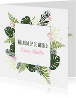 Felicitatie - Botanisch bladeren meisje