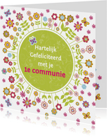 felicitatie communie bloemen