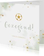 Felicitatie communie gouden voetbal met waterverf