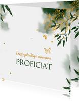 Felicitatie communie met groene waterverf en gouden bladeren