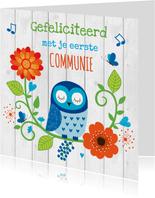 Felicitatie communie uiltje blauw