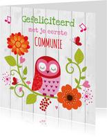Felicitatie communie uiltje bloemen
